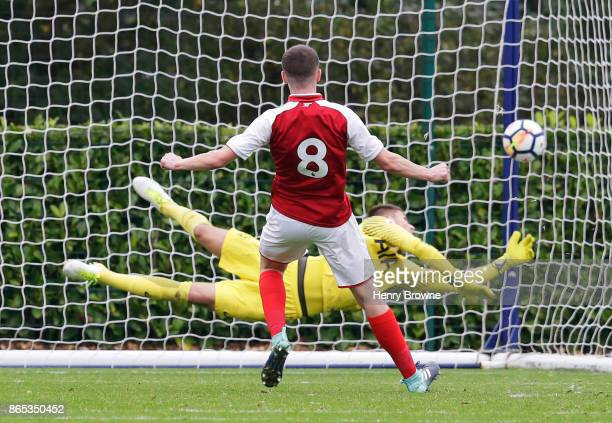 Charlie Gilmour of Arsenal scores their second goal during the Premier League 2 game between Tottenham Hotspur and Arsenal on October 23 2017 in...