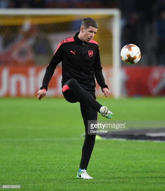 Charlie Gilmour of Arsenal warms up before the UEFA Europa League group H match between BATE Borisov and Arsenal FC at BorisovArena on September 28...