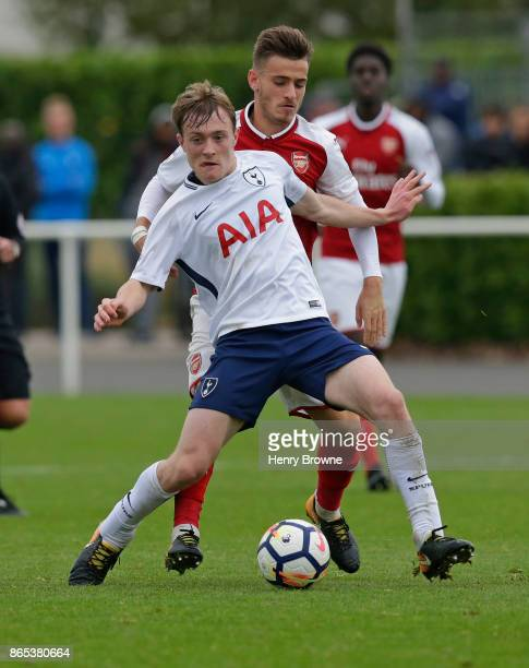 Charlie Gilmour of Tottenham Hotspur and Vlad Dragomir of Arsenal during the Premier League 2 game between Tottenham Hotspur and Arsenal on October...