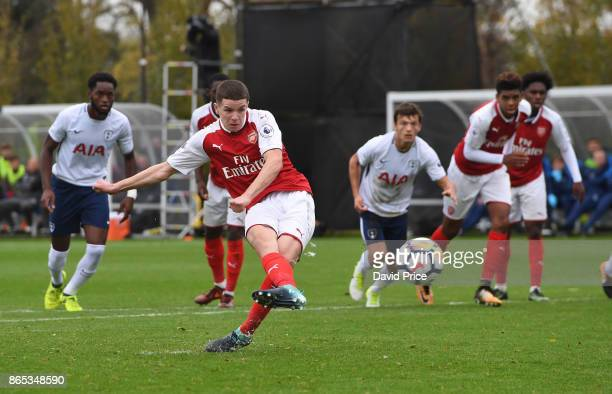 Charlie Gilmour scores Arsenal's 2nd goal from the penalty spot during the match between Tottehma Hotspur and Arsenal on October 23 2017 in Enfield...