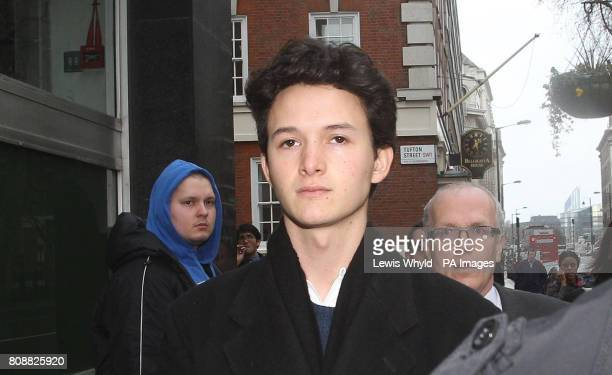 Charlie Gilmour the son of Pink Floyd guitarist David Gilmour arrives at Westminster Magistrates Court where he is charged with violent disorder...