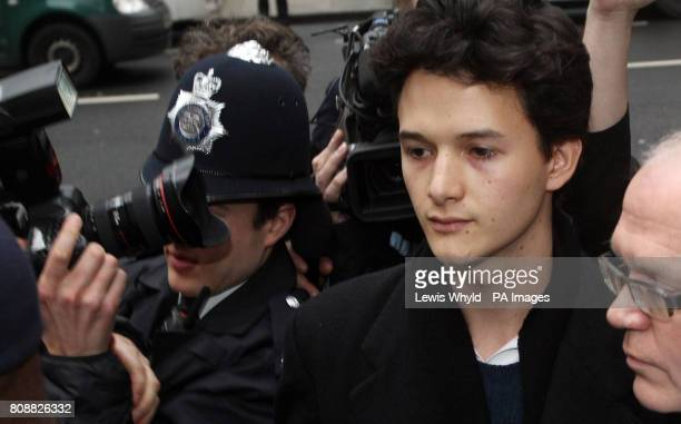 Charlie Gilmour the son of Pink Floyd guitarist David Gilmour leaves Westminster Magistrates Court where he is charged with violent disorder during a...