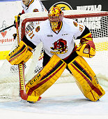 Charlie Graham of the Belleville Bulls prepares for a shot against the Mississauga Steelheads during the OHL game on January 16 2015 at the Hershey...