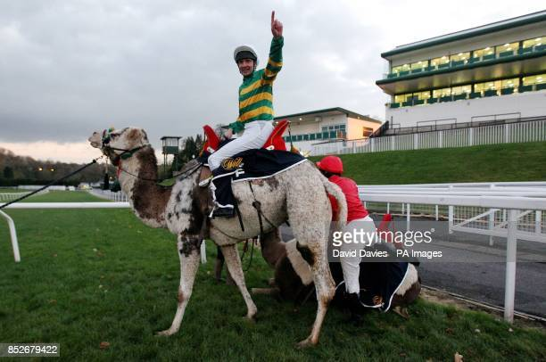 Charlie Hancock celebrates his victory in the final of The William Hill Camel Derby at Chepstow Racecourse