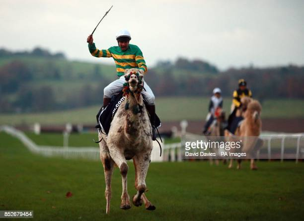 Charlie Hancock on his way to victory in the final of The William Hill Camel Derby at Chepstow Racecourse