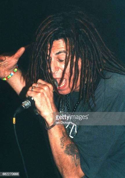 Charlie Harper of UK Subs performing on stage at Brixton Academy London 14 September 1991