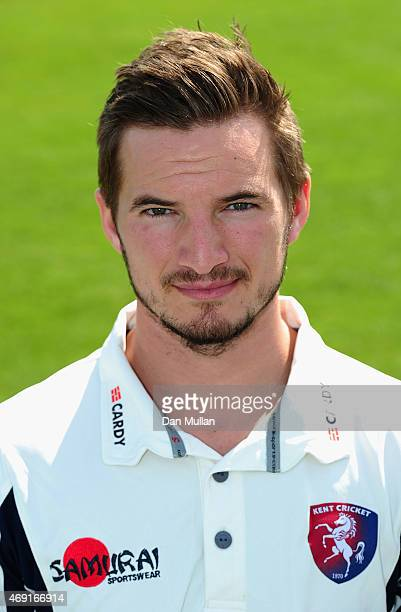 Charlie Hartley of Kent poses during the Kent CCC Photocall on April 10 2015 in Canterbury England