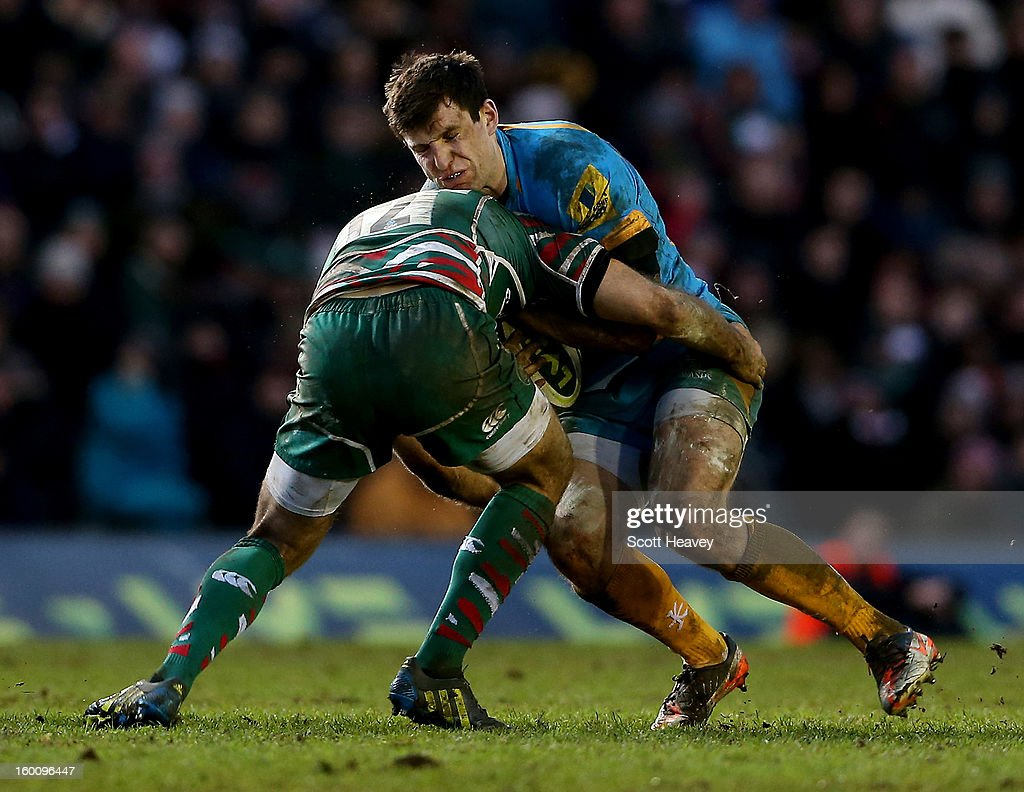 Charlie Hayter of Wasps in action during the LV=Cup match between Leicetser Tigers and London Wasps at Welford Road on January 26, 2013 in Leicester, England.