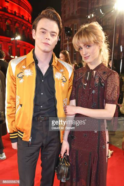 Charlie Heaton and Natalia Dyer attend The Fashion Awards 2017 in partnership with Swarovski at Royal Albert Hall on December 4 2017 in London England