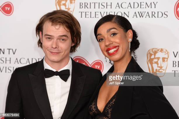 Charlie Heaton and Pearl Mackie pose in the Winner's room at the Virgin TV BAFTA Television Awards at The Royal Festival Hall on May 14 2017 in...