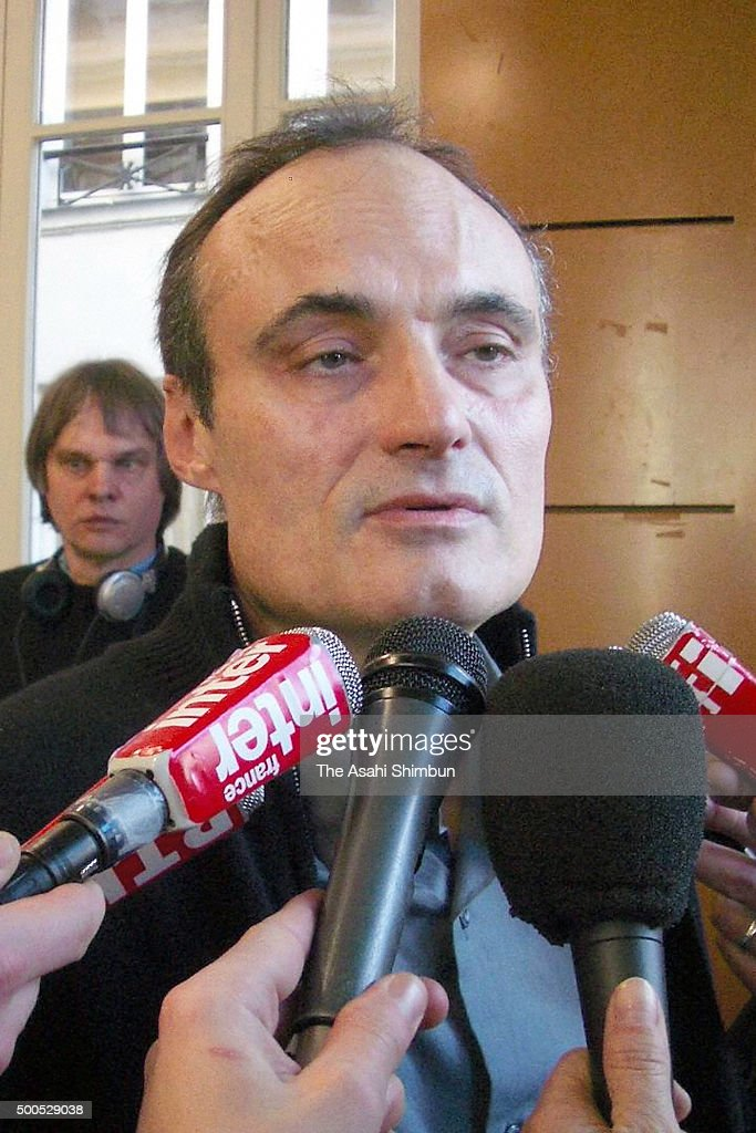 Charlie Hebdo Editor-in-Chief Philippe Val speaks to media on February 8, 2006 in Paris, France.