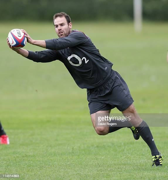 Charlie Hodgson catches the ball during the England training session held on May 23 2011 in Bath England