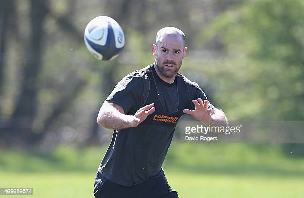 Charlie Hodgson catches the ball during the Saracens training session held on April 14 2015 in St Albans England