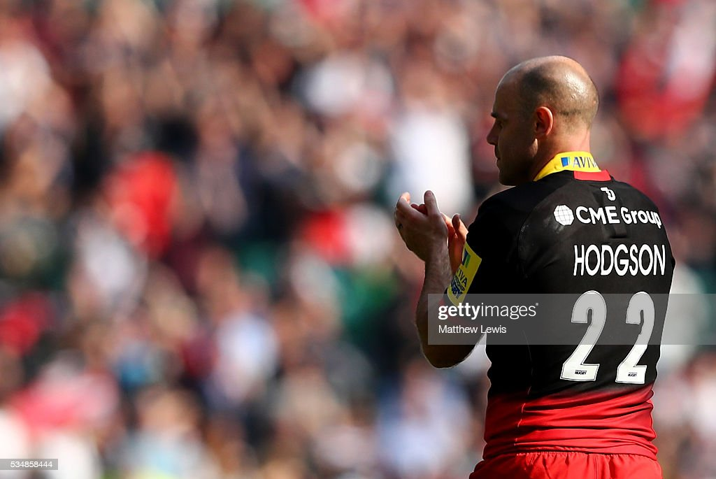 <a gi-track='captionPersonalityLinkClicked' href=/galleries/search?phrase=Charlie+Hodgson&family=editorial&specificpeople=202536 ng-click='$event.stopPropagation()'>Charlie Hodgson</a> of Saracens applauds after the Aviva Premiership final match between Saracens and Exeter Chiefs at Twickenham Stadium on May 28, 2016 in London, England.