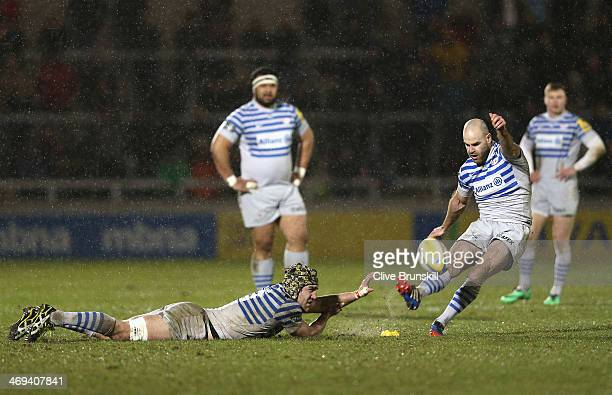 Charlie Hodgson of Saracens converts a penalty during the Aviva Premiership match between Sale Sharks and Saracens at the AJ Bell Stadium on February...