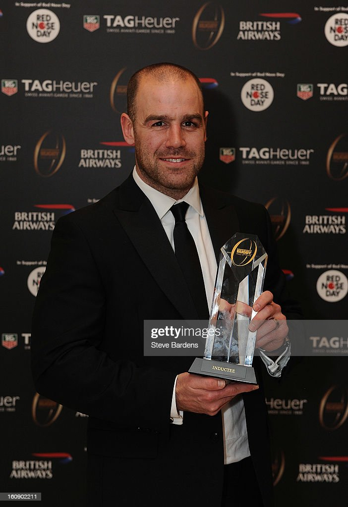<a gi-track='captionPersonalityLinkClicked' href=/galleries/search?phrase=Charlie+Hodgson&family=editorial&specificpeople=202536 ng-click='$event.stopPropagation()'>Charlie Hodgson</a> of Saracens is inducted into the Hall of Fame during the inaugural Premiership Rugby Hall of Fame Ball at the Hurlingham Club on February 7, 2013 in London, England.