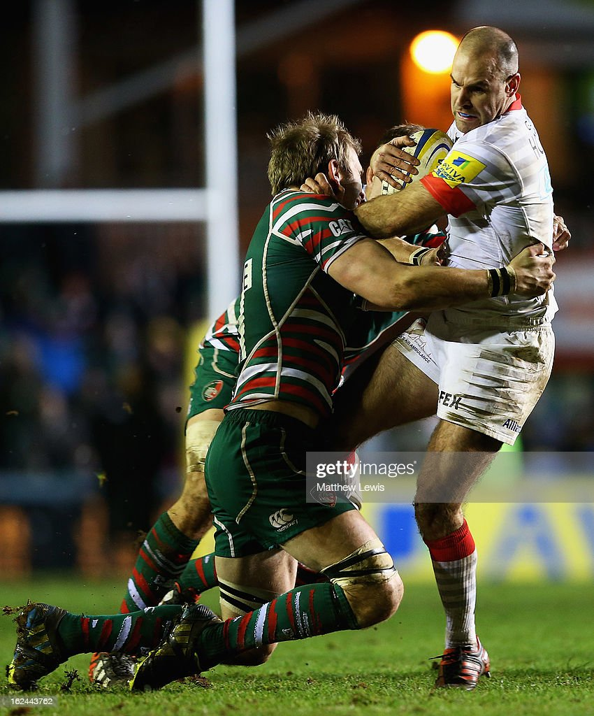 <a gi-track='captionPersonalityLinkClicked' href=/galleries/search?phrase=Charlie+Hodgson&family=editorial&specificpeople=202536 ng-click='$event.stopPropagation()'>Charlie Hodgson</a> of Saracens is tackled by <a gi-track='captionPersonalityLinkClicked' href=/galleries/search?phrase=Tom+Croft&family=editorial&specificpeople=672626 ng-click='$event.stopPropagation()'>Tom Croft</a> of Leicester during the Aviva Premiership match between Leicester Tigers and Saracens at Welford Road on February 23, 2013 in Leicester, England.