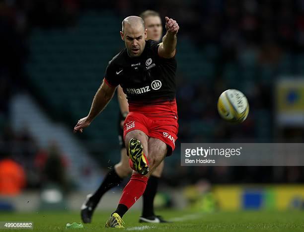 Charlie Hodgson of Saracens kicks a conversion during the Aviva Premiership match between Saracens and Worcester Warriors at Twickenham Stadium on...