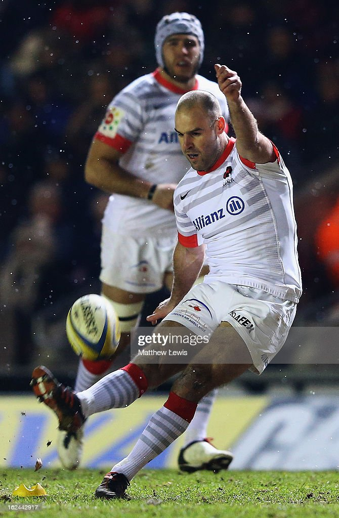 <a gi-track='captionPersonalityLinkClicked' href=/galleries/search?phrase=Charlie+Hodgson&family=editorial&specificpeople=202536 ng-click='$event.stopPropagation()'>Charlie Hodgson</a> of Saracens kicks a penalty during the Aviva Premiership match between Leicester Tigers and Saracens at Welford Road on February 23, 2013 in Leicester, England.