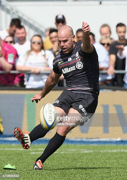 Charlie Hodgson of Saracens kicks a penalty during the Aviva Premiership match between Saracens and Exeter Chiefs at Allianz Park on May 10 2015 in...