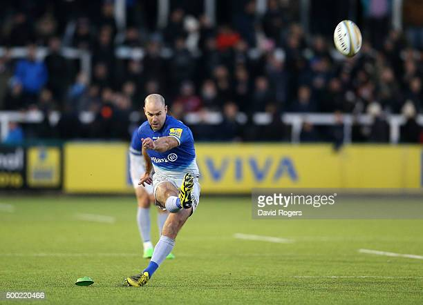 Charlie Hodgson of Saracens kicks a penalty during the Aviva Premiership match between Newcastle Falcons and Saracens at Kingston Park on on December...