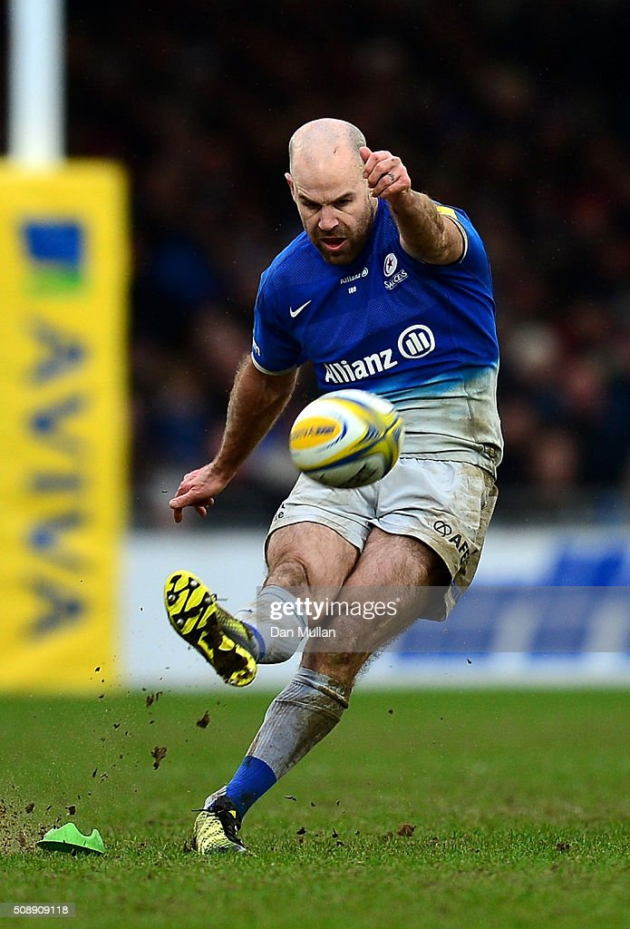 <a gi-track='captionPersonalityLinkClicked' href=/galleries/search?phrase=Charlie+Hodgson&family=editorial&specificpeople=202536 ng-click='$event.stopPropagation()'>Charlie Hodgson</a> of Saracens kicks a penalty to take the lead during the Aviva Premiership match between Exeter Chiefs and Saracens at Sandy Park on February 7, 2016 in Exeter, England.