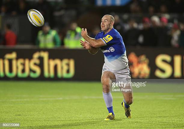 Charlie Hodgson of Saracens pases the ball during the Aviva Premiership match between Newcastle Falcons and Saracens at Kingston Park on on December...