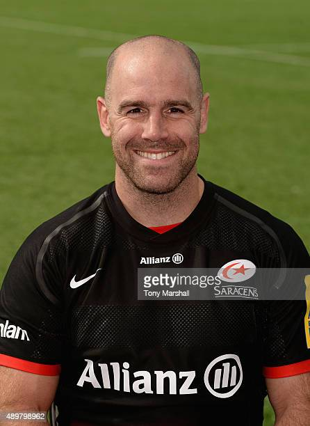 Charlie Hodgson of Saracens poses for a portrait at the photocall held at Allianz Park on September 24 2015 in Barnet England