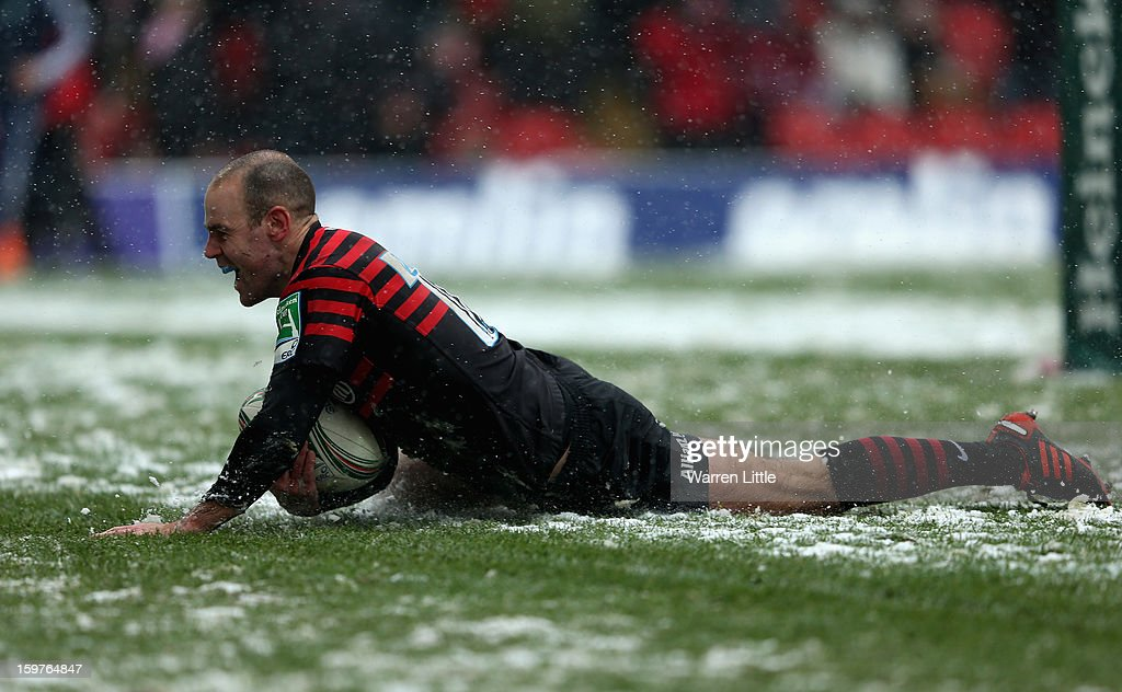<a gi-track='captionPersonalityLinkClicked' href=/galleries/search?phrase=Charlie+Hodgson&family=editorial&specificpeople=202536 ng-click='$event.stopPropagation()'>Charlie Hodgson</a> of Saracens scores the bonus point try during the Heineken Cup match between Saracens and Edinburgh Rugby at Vicarage Road on January 20, 2013 in Watford, England.