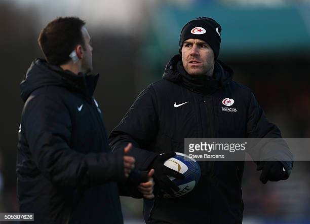 Charlie Hodgson of Saracens warms up during the European Rugby Champions Cup pool one match between Saracens and Ulster at Allianz Park on January 16...