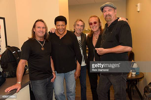 Charlie Huhn Chubby Checker Craig MacGregor Roger Earl and Bryan Bassett pose backstage at the Paradise Artists Party during Day 4 of the IEBA 2014...