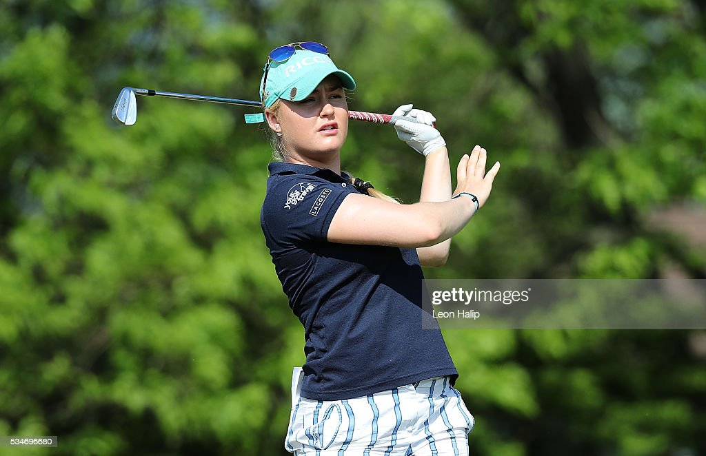 Charlie Hull from England hits her tee shot and reacts on the sixteenth hole during the second round of the LPGA Volvik Championship on May 27, 2016 at Travis Pointe Country Club Ann Arbor, Michigan.