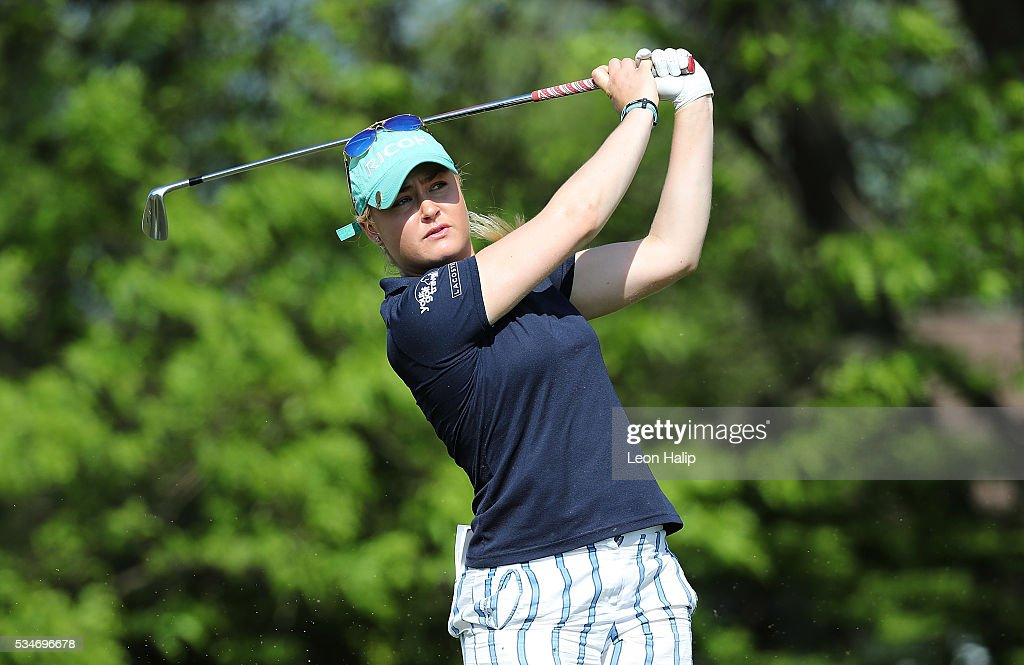 Charlie Hull from England hits her tee shot on the sixteenth hole during the second round of the LPGA Volvik Championship on May 27, 2016 at Travis Pointe Country Club Ann Arbor, Michigan.