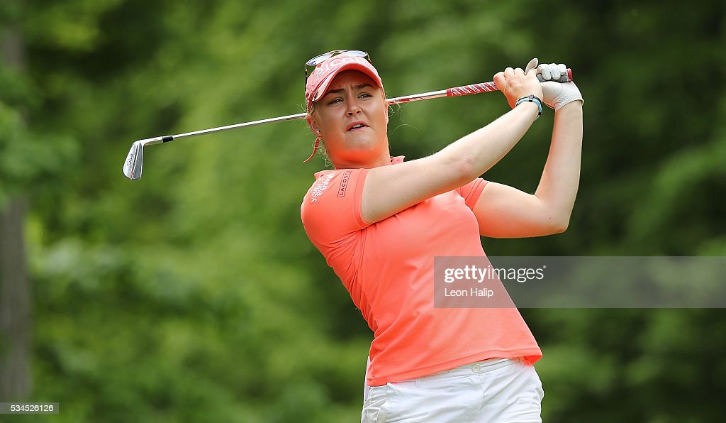 Charlie Hull tees off on the seventh hole during the first round of the LPGA Volvik Championship on May 26, 2016 at Travis Pointe Country Club Ann Arbor, Michigan.