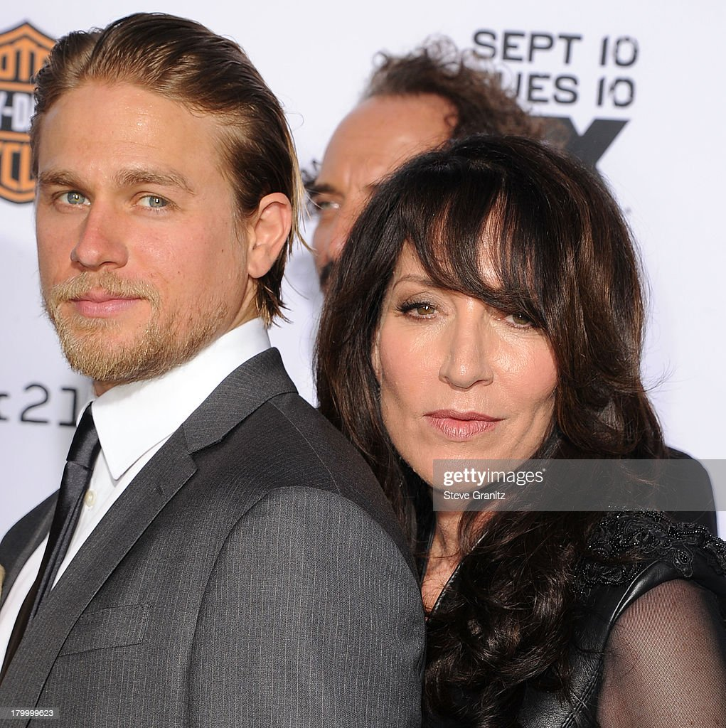 <a gi-track='captionPersonalityLinkClicked' href=/galleries/search?phrase=Charlie+Hunnam&family=editorial&specificpeople=223913 ng-click='$event.stopPropagation()'>Charlie Hunnam</a> and <a gi-track='captionPersonalityLinkClicked' href=/galleries/search?phrase=Katey+Sagal&family=editorial&specificpeople=221480 ng-click='$event.stopPropagation()'>Katey Sagal</a> arrives at the FX's 'Sons Of Anarchy' Season 6 Premiere Screening at Dolby Theatre on September 7, 2013 in Hollywood, California.