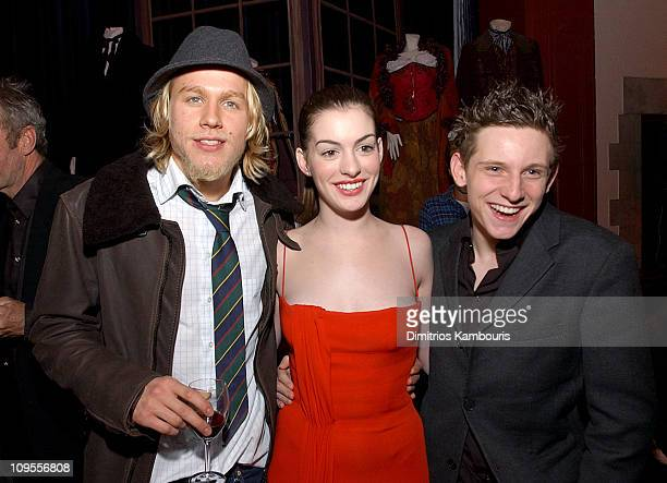 Charlie Hunnam Anne Hathaway and Jamie Bell during 'Nicholas Nickleby' New York Premiere AfterParty at St Bartholomew's Restaurant in New York City...