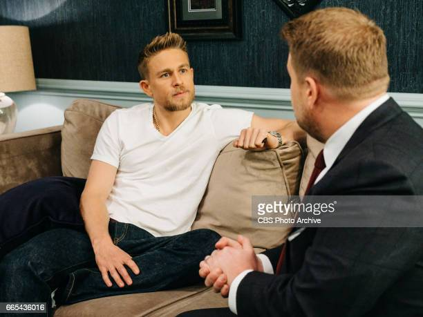 Charlie Hunnam chats in the green room with James Corden during 'The Late Late Show with James Corden' Wednesday April 5 2017 On The CBS Television...