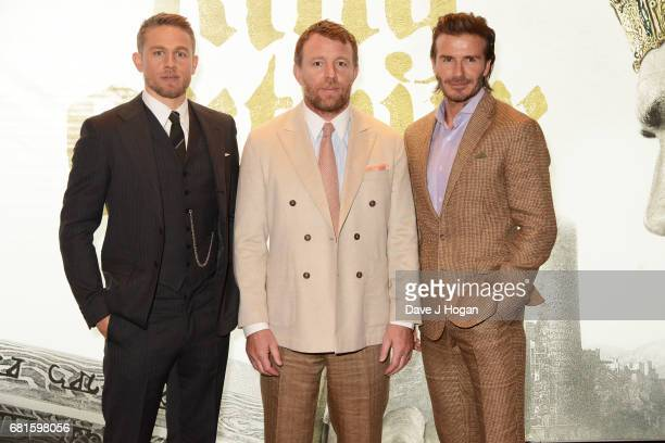 Charlie Hunnam Guy Ritchie and David Beckham attend the European premiere of 'King Arthur Legend of the Sword' at Cineworld Empire on May 10 2017 in...