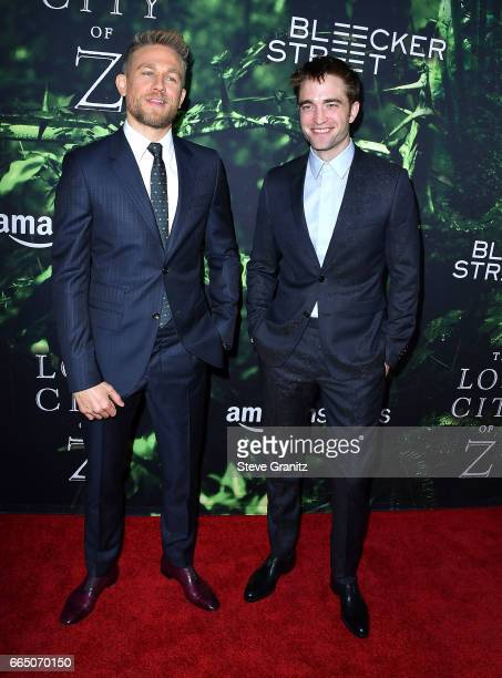 Charlie Hunnam Robert Pattinson arrives at the Premiere Of Amazon Studios' 'The Lost City Of Z' at ArcLight Hollywood on April 5 2017 in Hollywood...