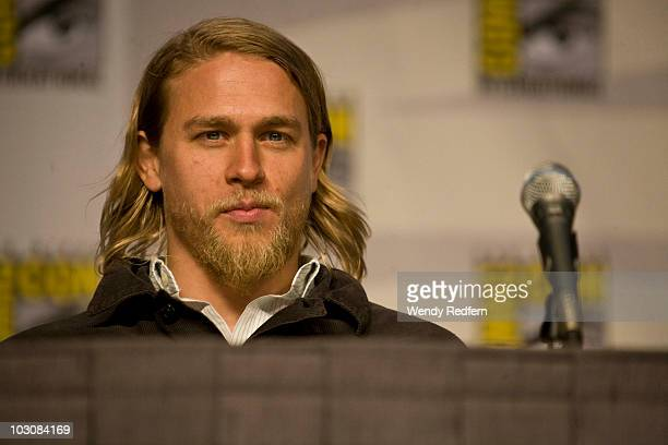 Charlie Hunnam speaks at the Sons of Anarchy panel at ComicCon on July 25 2010 in San Diego California