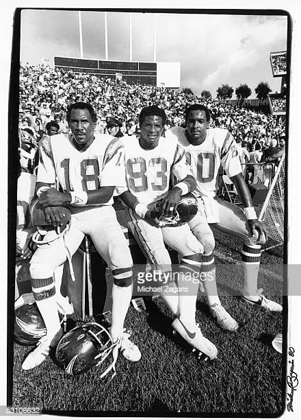 Charlie Joiner John Jefferson and Kellen Winslow pose for a photo during the game against the Oakland Raiders at Oakland Alameda Coliseum on October...