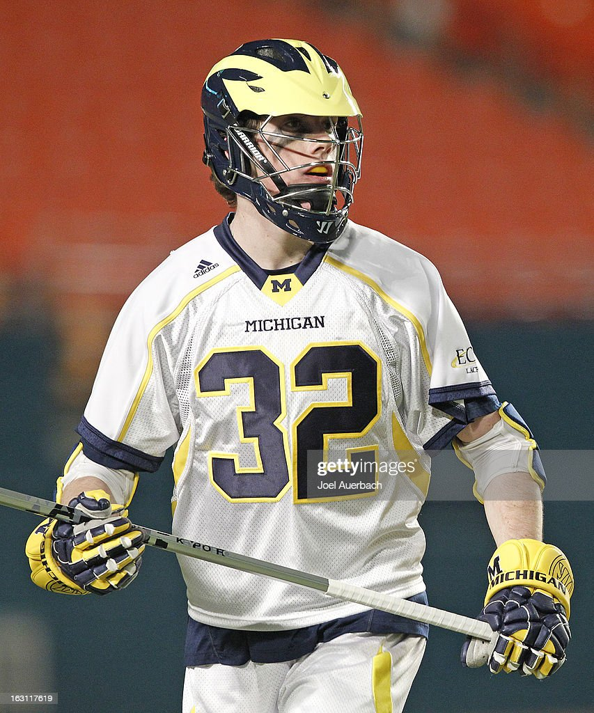 Charlie Keady #32 of the Michigan Wolverines looks on during first half action against the Army Black Knights during the 2013 Orange Bowl Lacrosse Classic on March 2, 2013 at SunLife Stadium in Miami Gardens, Florida. Army defeated Michigan 12-1.