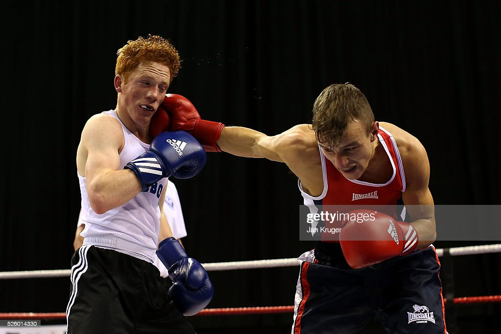Charlie Kenny(blue) in action against Jeff Nesham in their 56kg fight during day one of the Boxing Elite National Championships at Echo Arena on April 29, 2016 in Liverpool, England.