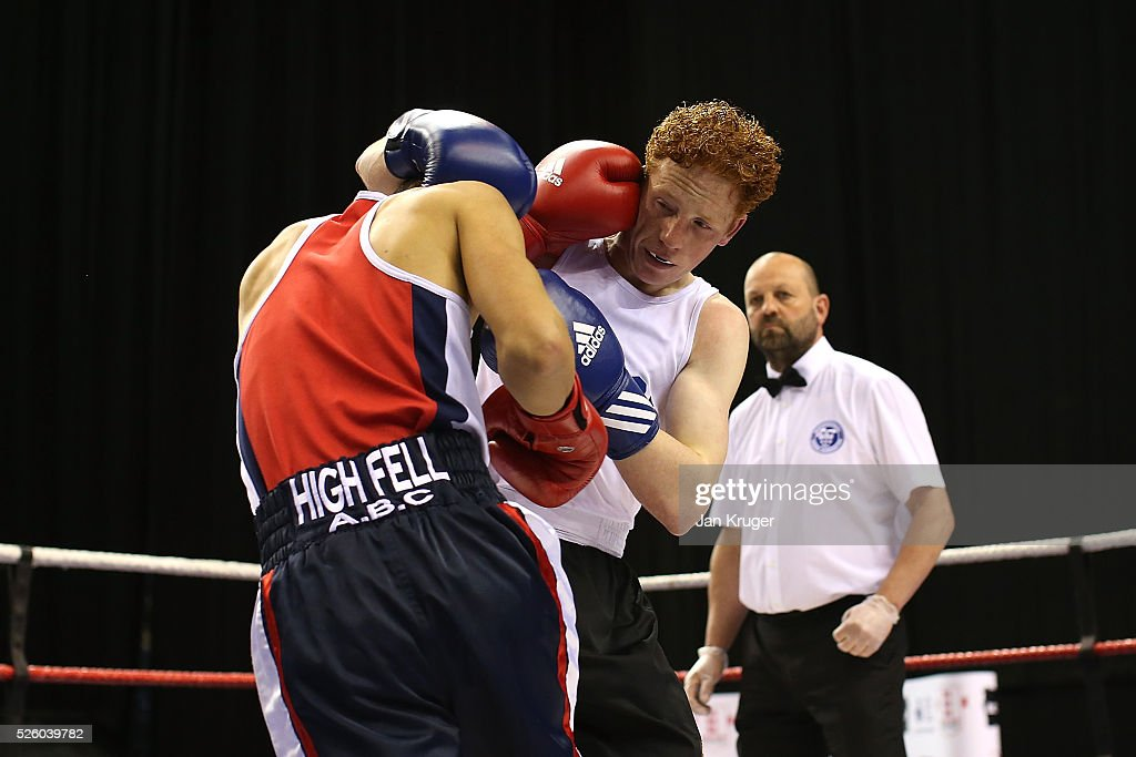 Charlie Kenny (blue) in action against Jeff Nesham in their 56kg fight during day one of the Boxing Elite National Championships at Echo Arena on April 29, 2016 in Liverpool, England.