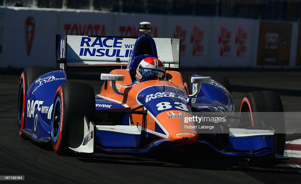 Charlie Kimball driver of the #83 Novo Nordisk Chip Ganassi Racing Dallara Honda during the IndyCar Series Toyota Grand Prix of Long Beach on April 21, 2013 on the streets of Long Beach, California.