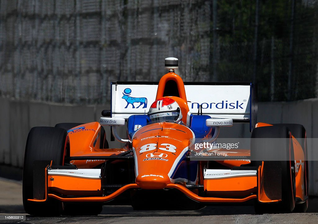 Charlie Kimball drives his #83 Novolog Flex Pen Chip Ganassi Racing Honda Dallara DW12 during qualifying for the IZOD INDYCAR Series Chevrolet Detroit Belle Isle Grand Prix on Belle Isle on June 2, 2012 in Detroit, Michigan.