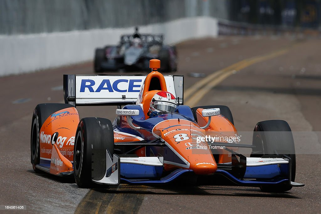 Charlie Kimball, drives the #83 NovoLog FlexPen Novo Nordisk Chip Ganassi Racing Dallara Honda during the IZOD IndyCar Series Honda Grand Prix of St Petersburg on March 24, 2013 in St Petersburg, Florida.