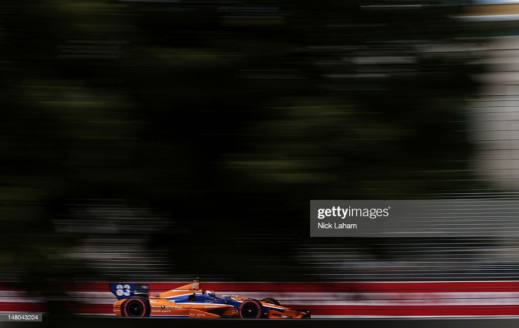 Charlie Kimball, drives the #83 NovoRapid Flex Touch Honda during the IZOD INDYCAR Series Honda Indy Toronto on July 8, 2012 in Toronto, Canada.