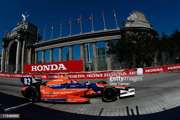 Charlie Kimball drives the NovoRapid Flex Touch Target Chip Ganassi Racing Honda during the IZOD INDYCAR Series Honda Indy Toronto on July 14 2013 in...