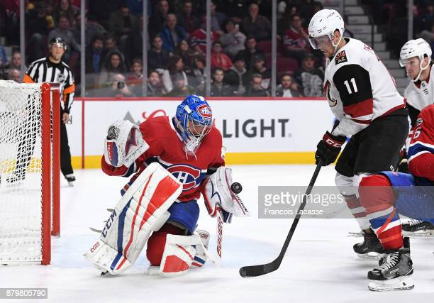 Antti Niemi of the Montreal Canadiens makes a blocker save on a shot by Brendan Perlini of the Arizona Coyotes in the NHL game at the Bell Centre on...